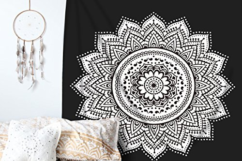 RawyalCrafts Ombre Mandala Tapestry - Black and White Indian/Hindu Wall Hanging - 100% Cotton - Bohemian Wall Decor