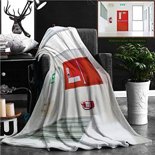 (Nalagoo Unique Custom Flannel Blankets Building Emergency Exit With Exit Sign And Fire Extinguisher Super Soft Blanketry for Bed Couch, Twin Size 80