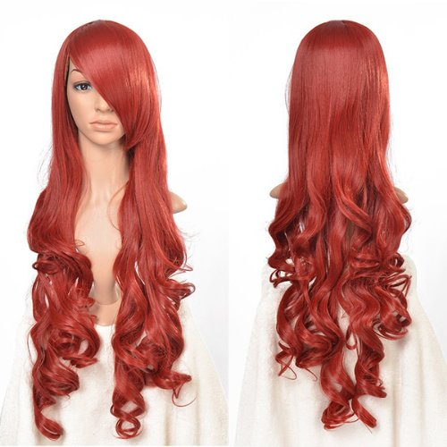 AGPtek 33 inch Heat Resistant Curly Wavy Long Cosplay Wigs-Red ()