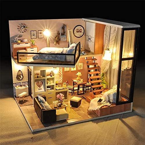 DIY ドールハウス ミニDIYドールハウスミニチュア家具キットキッズギフトLEDライト ミニチュアコレクション (Color : Multi-colored, Size : One size)