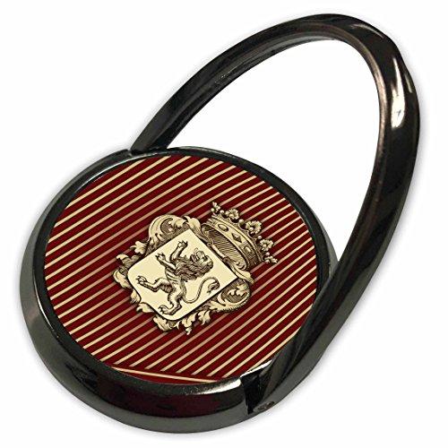 Lion Rampant Design (3dRose Russ Billington Designs - Aristocratic Crest with Rampant Lion over Maroon Vertical Stripe - Phone Ring (phr_220172_1))