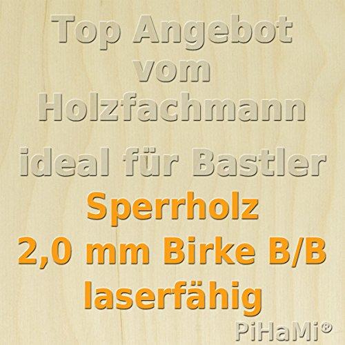 PiHaMi/® Flugzeugsperrholz Birke Qualit/ät B//B laserf/ähig 745 mm x 290 mm x 2 mm GP 59,34 /€//m/²