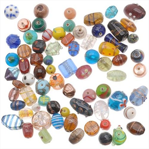 Beadaholique Lampwork Everything But The Kitchen Sink Glass Beads Mix, 225gm (Glass Mix Bead)