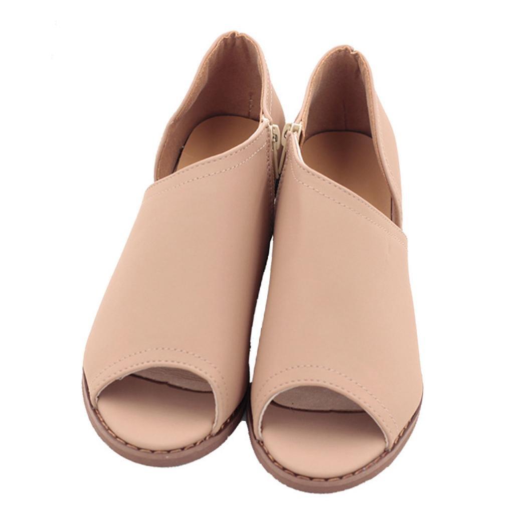 Liquidación Sandalias de Tacón de mujer Covermason Sandalias de Tacón de Bloque de Peep Toe con Cremallera(39 EU, Caqui): Amazon.es: Ropa y accesorios