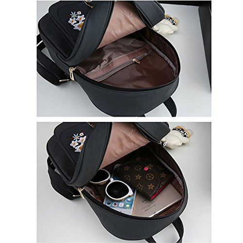 Card include Patterns Girl Holder Bag Backpack Backpack Shoulder Women School School Bag and Embroidery Book Black w7YTtxn