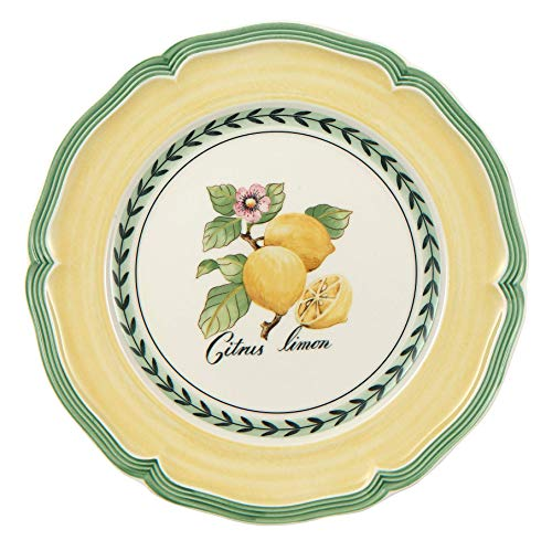 French Garden Valance Lemon Salad Plate by Villeroy & Boch - Premium Vitrified Porcelain - Made in Germany - Dishwasher and Microwave Safe - 8.25 inches - Sold Individually ()