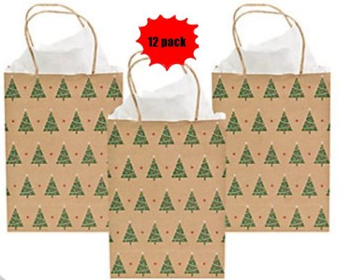 Christmas Tree Kraft Gift Bags- 12 Pack - 9 Inch Medium