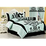 Chezmoi Collection 7-Piece Floral Flocking Comforter Set Bed-In-A-Bag King Size Bedding, Blue