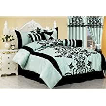 Chezmoi Collection 7-Piece Floral Flocking Comforter Set Bed-In-A-Bag Queen Size Bedding, Blue
