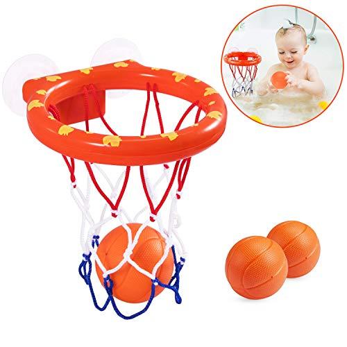 Abeyc Kids Bath Toy Basketball Hoop & Balls Playset for Boys and Girls | Bathtub Shooting Game- Kid & Toddler Bath Toys Gift Set + 3 Balls Included