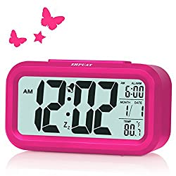 ZHPUAT Alarm Clock for Kids, 4.6 Smart Backlight Digital Clock with Dimmer for Girls (Pink)