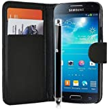 Mega.Deals4U® - PU Leather Flip Card Wallet Case For SAMSUNG GALAXY S5 / S5 Neo G900F 4G LTE INCLUDING STYLUS PEN + SCREEN PROTECTOR + CLEANING CLOTH (Black)