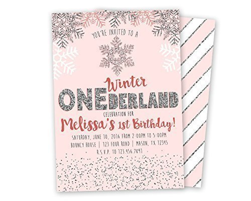 Amazoncom Pink Silver Winter ONEderland Invitations Glitter 1st