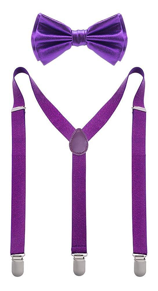 Man of Men Premium Sequin Bow Tie /& Suspenders Set