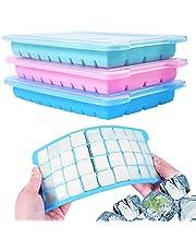 Wanap 3 stuks ijsblokjesvorm siliconen, 36-vaks ijsblokjeshouder om in te vriezen, 108 ijsblokjes voor koelkast, magnetron, oven, set van 3 voor ijsblokjes, chocolade, kindervoeding enz. - met deksel