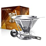[1 Year Guarantee] - Pour Over Coffee Dripper - THICKER STAINLESS STEEL THAT WON't WARP with Stand And Scoop - LARGE Single Serve Cup Up to 4 Cups