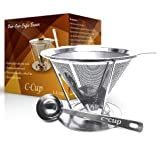 C-Cup Stainless Steel Pour Over Coffee Dripper with Removable Cup Stand And Scoop - Up to 4 Cups
