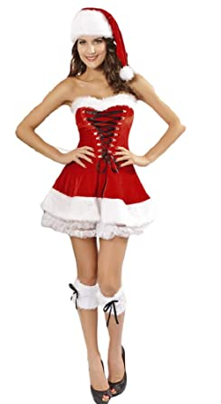 ecc607e50ce Image Unavailable. Image not available for. Color  Ladies Miss Sexy Santa  Strapless Velvet Christmas Fancy Dress Costume Outfit (UK 12-14