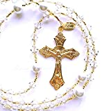 Rana Jabero Gold Plated Crystal Clear (April Birthstone) Swarovski Crystal and Glass Pearl Rosary