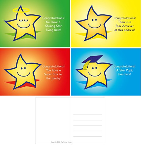 (The Sticker Factory 32 A6 Star Reward Postcards: Mixed captions: 8 Each of 4 Designs)