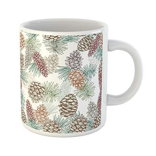 Emvency Funny Coffee Mug Artistic Winter Cones and Needles Pine Cedar Fir Tee Hand Drawing Pinecones Sketch 11 Oz Ceramic Coffee Mug Tea Cup Best Gift Or Souvenir