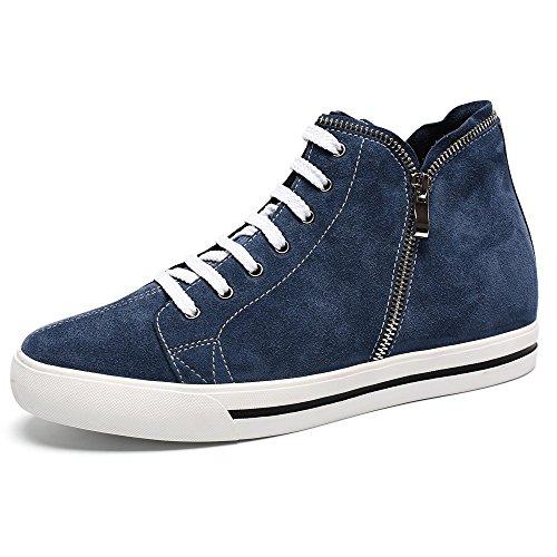 "CHAMARIPA-Mens Weight Lifting Skate Schuhe Blau Leder Sneakers -Taller 6cm / 2.36 ""-H62B08K106D"