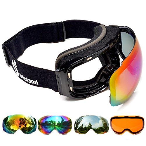 ODOLAND Erwachsene Skibrille - Snowboardbrille mit austauschbarer magnetisch haftender Linse, Doppelglas UV400 Schutz Beschlagungsfrei, Verspiegeltes Desing, schwarzer Rahmen