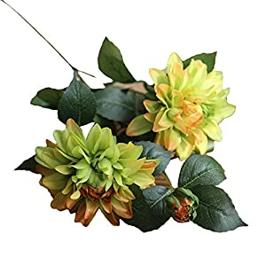 Yliquor Pretty Artificial Silk Fake Flower Dahlia Floral Wedding Bouquet Bridal Hydrangea Decor for Home Decoration,The Gift for her,Artificial Flower in Vase 103