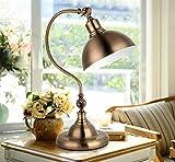 Retro TableLamp Bedroom Bedside Lamp Metal Retro Bronze Living Room Decorative Light Button Switch