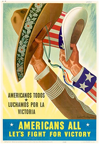 Victory Wwii Ship (Americans All Americanos Todos Let's Fight For Victory WWII War Propaganda Art Print Poster 13 x 19in)