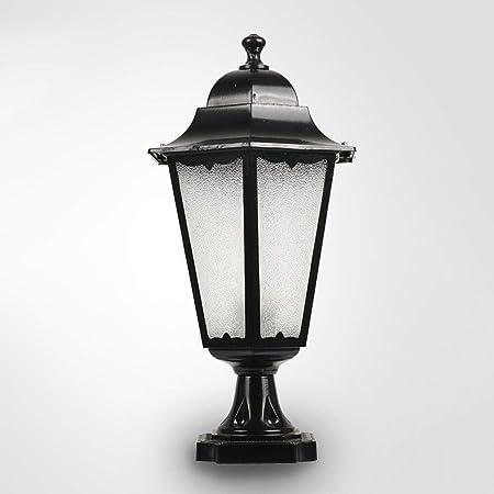 HLR Farolas Jardín Al Aire Libre Impermeable Poste de luz de la lámpara Pilar de la Columna Balcón E27 Luces Pilar de Límites Villa Park decoración de la iluminación (Color : Black):