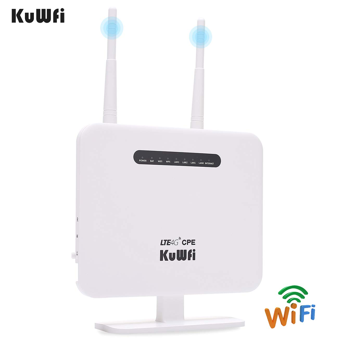 KuWFi 4G LTE CPE Router 300Mbps Unlocked Wireless Routers with SIM Card  Slot 2 Outdoor Antenna 4 LAN Port WiFi Hotspot High Speed for 32 Users Work  in