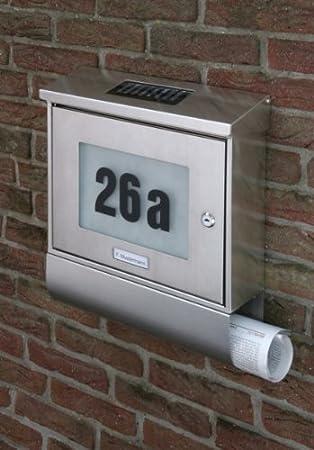 2. Wahl Briefkasten Solar Hausnummer Edelstahl: Amazon.de: Küche ...