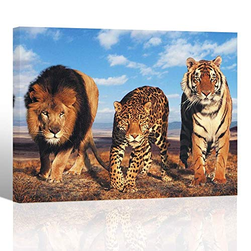 (Purple Verbena Art Beast Animals Lions Tiger Leopard HD Photos Painting Canvas Print Artwork Decor for Meeting Room Bedroom School Office Modern Decoration Picture Gift 12x16 inches Framed streched)