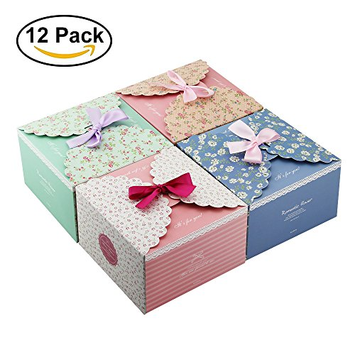Zilong Gift Boxes, 12 Pack 5.7x 5.7x 3.6 Inches Decorative Treats Boxes for Holiday Gifts, Crafting, Cupcake (Cute Cupcake Boxes)