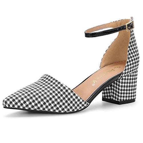 Houndstooth Heel High Pump (Allegra K Women's Block Heel Ankle Strap Black White Pumps - 6 M US)