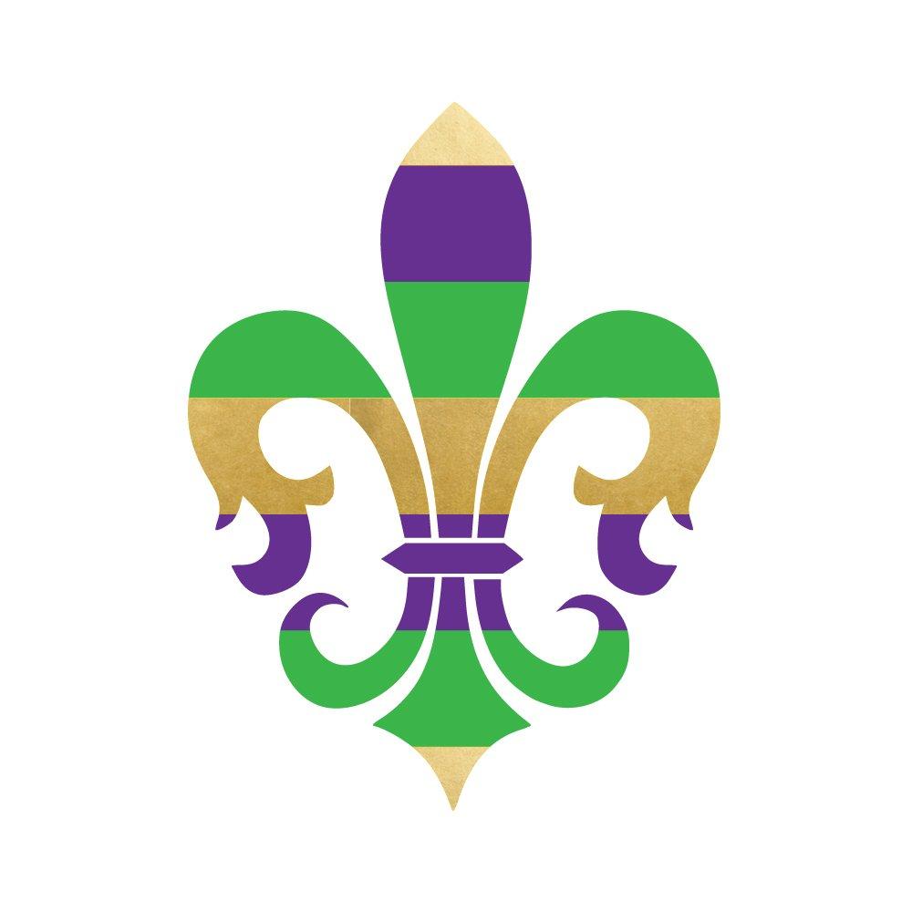 MARDI GRAS FLEUR DE LIS set of 25 premium waterproof purple, green and metallic gold temporary jewelry foil Flash Tattoos