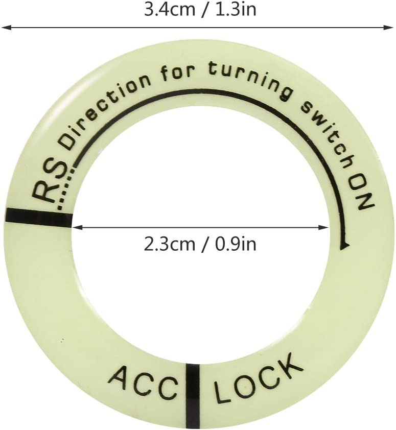 Car Universal Motorcycle Luminous Ignition Switch Key Ring Circle Cover Trim Black Acouto Ignition Switch Decoration Ring