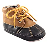 Luvable Friends Boys' Duck Boot, Tan/Navy, 12-18 Months M US Infant
