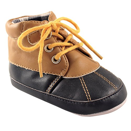 Duck Friends - Luvable Friends Boys' Duck Boot Crib Shoe, Tan/Navy, 6-12 Months M US Infant