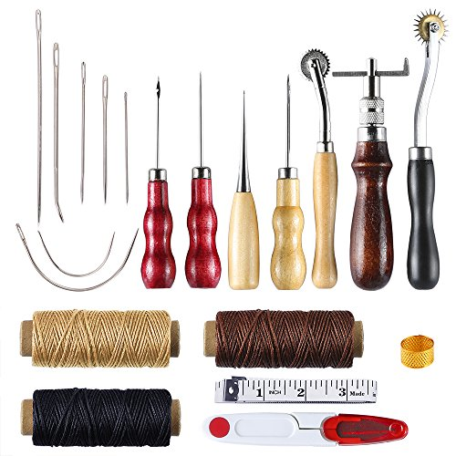 Caydo 14 Pieces Leather Craft Hand Including Stitching Groover Basic Hand Stitching Sewing Tool Set Saddle Groover Leather Craft DIY Tool by Caydo