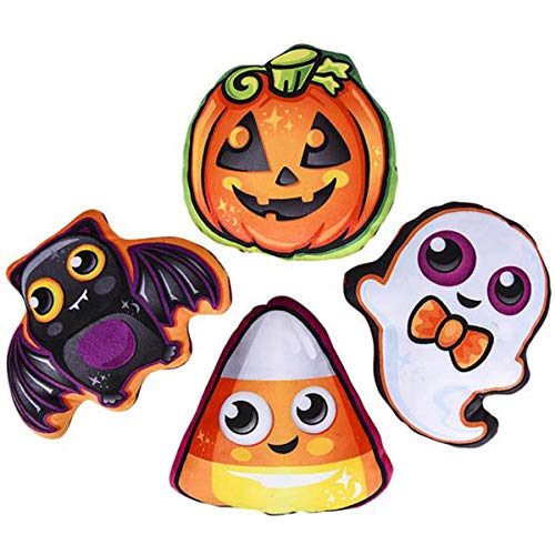 Halloween Bat Pumpkin Ghost & Candy Corn Mini Plush Party Favors (12 pack) -