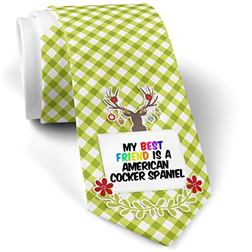 Green Plaid Christmas Neck Tie My best Friend a American Cocker Spaniel Dog from United States gift for men