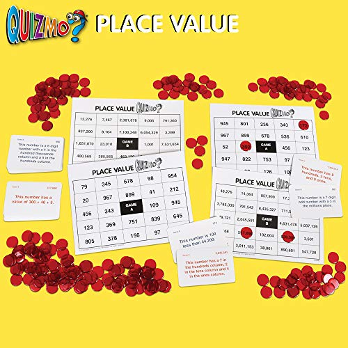 51c5A CwFtL - Learning Advantage QUIZMO Advanced Elementary Math Series - Set of 6 Bingo-Style Math Games for Kids - Teach Fractions, Decimals, Math Vocabulary, Geometry, Place Value and Integers