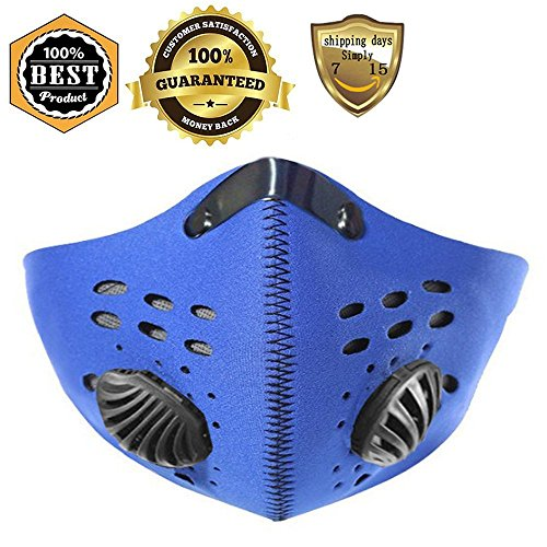 [Meanhoo Bike Cycling Anti-dust Half Face Mask with Filter Neoprene (Blue)] (Awesome 3 Person Halloween Costumes)