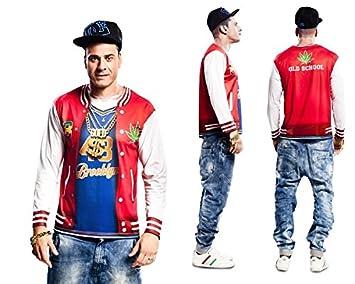 Disfraz de rapero Hip Hop camiseta de manga corta T-Shirt traje de los  hombres  Amazon.es  Juguetes y juegos 29a61c90cae