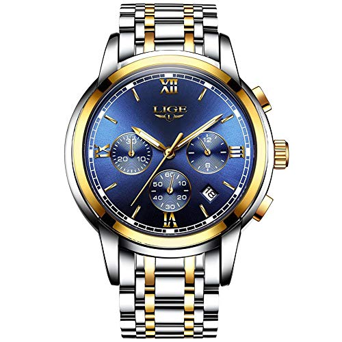 Mens Fashion Business Quartz Watches with Stainless Steel Band LIGE Classic Casual Analog Sport Wrist Watch