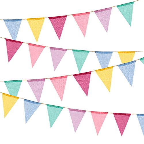 Homfshop 60 Flags Imitated Burlap Pennant Banner - Multicolor Fabric Triangle Flag Bunting for Summer Party and Festival Hanging Decoration]()