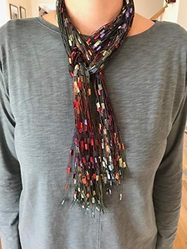 f Yarn Ribbon Necklace Multi Gem Belt ()
