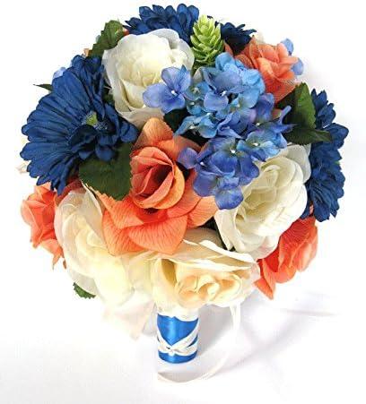 Amazon Com Wedding Bouquets Bridal Silk Flowers Royal Blue Daisy